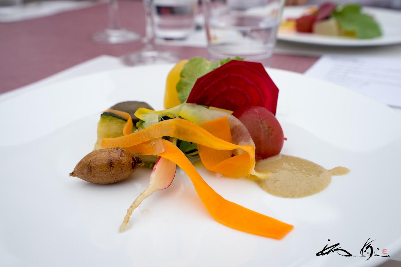 初秋の野菜八寸:カニ味噌ソースがけ
