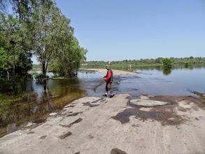 Photo: überschwemmte Strasse bei Velikye Ustje