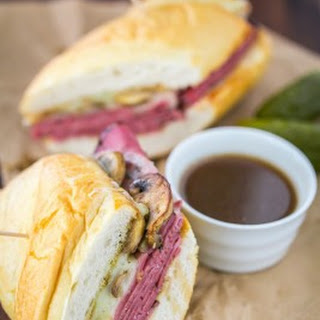 French Dip Pastrami Sandwich.