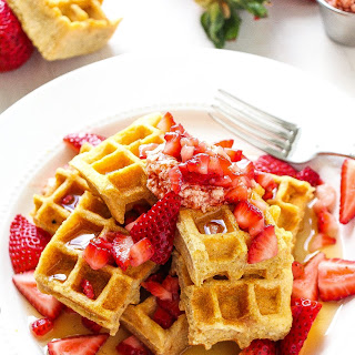 Strawberry Jam Swirled Waffles