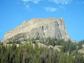 Photo: A closer view of Hallett Peak's northeast shoulder. Photo by Bill Walker.