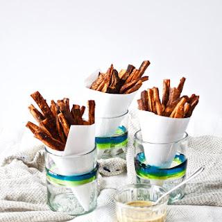 BBQ Baked Sweet Potato Fries with Honey Mustard Sauce