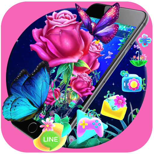 Luminous Rose Butterfly Theme & Lock Screen
