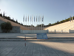 """Photo: The Olympic Stadium in Athens. A """"stadium"""" is a unit of measurement, 200 meters."""