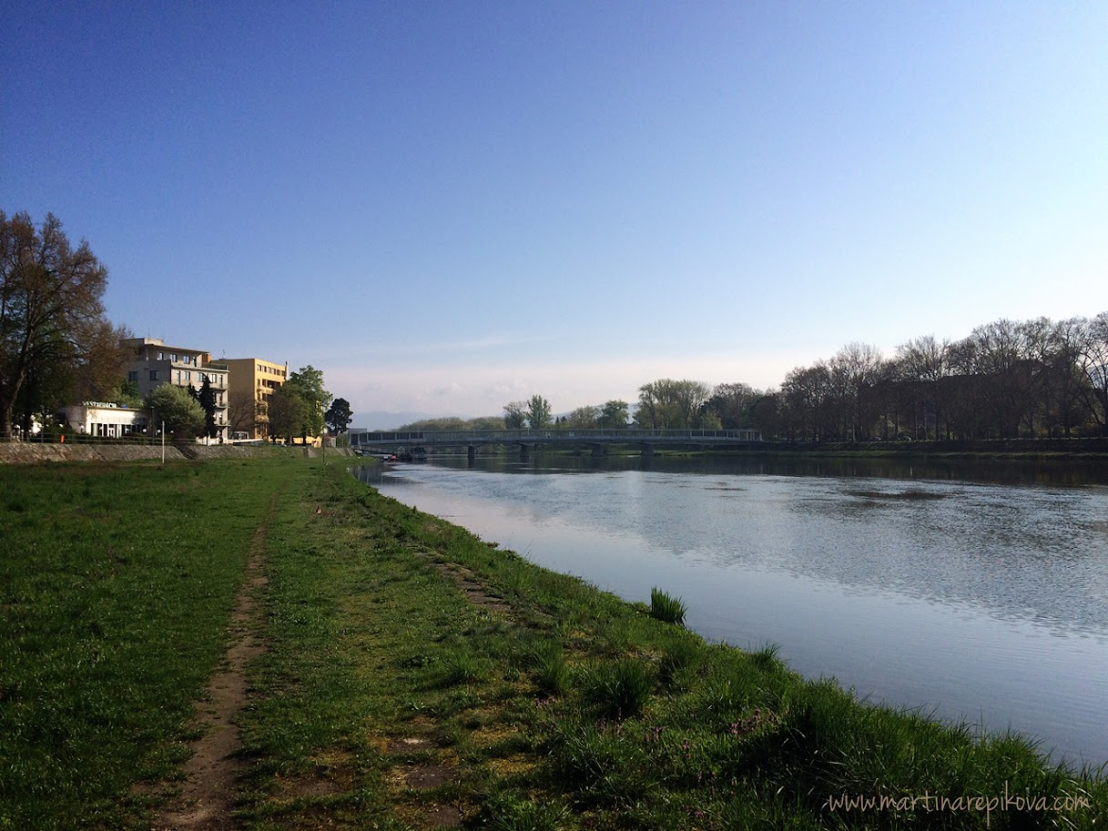 River bank in the city centre, Piešťany, Slovakia