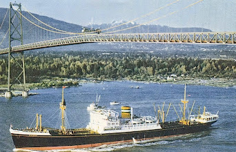 Photo: DONGEDYK passing under the Lion's Gate Bridge, Vancouver, B.C. Holland-America Line