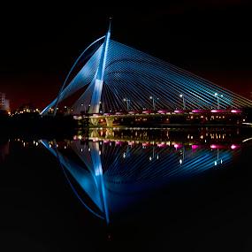 by Danial Abdullah - Buildings & Architecture Bridges & Suspended Structures ( reflection, seri, putrajaya, night, bridge, lakeside, architecture, design, wawasan )