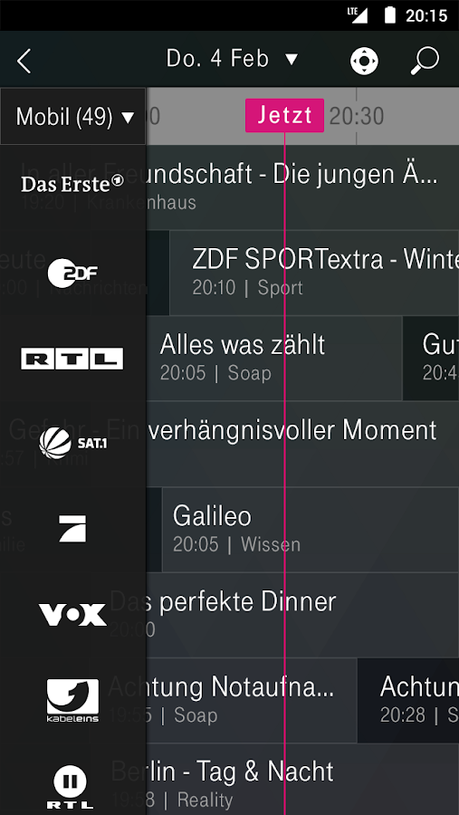 EntertainTV mobil (Smartphone) – Screenshot