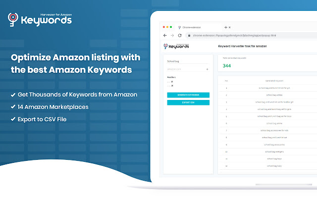 Keyword Harvester tool for Amazon
