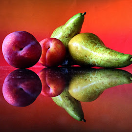 Pears and plums by Janette Ho - Food & Drink Fruits & Vegetables
