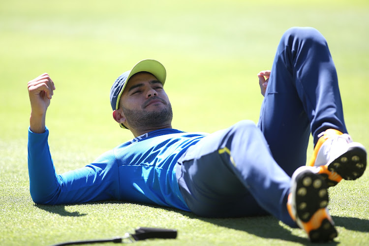 Reeza Hendricks stretches during a training session at Newlands in Cape Town on February 25 2020 before Covid-19 halted sport worldwide.