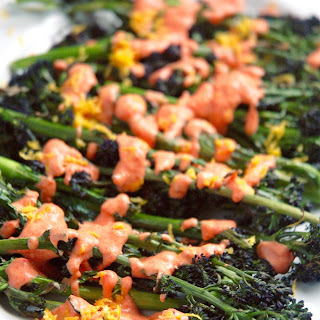 Charred Purple Broccoli with Creamy Roasted Red Pepper Sauce