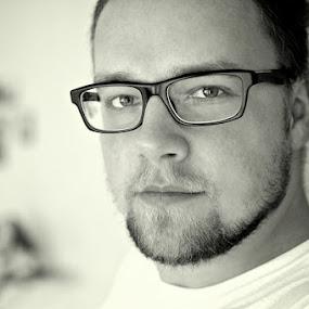 .. by Lubomir Gobs - People Portraits of Men ( b&w, glasses, d90, 35mm, white, nikon, black, portrait )