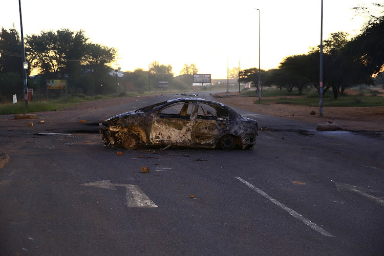 The streets of Mahikeng are littered with marks of the protest.