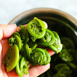 Fiddleheads Sauteed In Garlic Lemon Butter Sauce.
