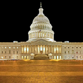 Golden Pavers by Mike Lennett - Buildings & Architecture Public & Historical ( symetry, architectural, dome, washington dc, night, long exposure, mike lennett, gold, capitol, usa, golden )