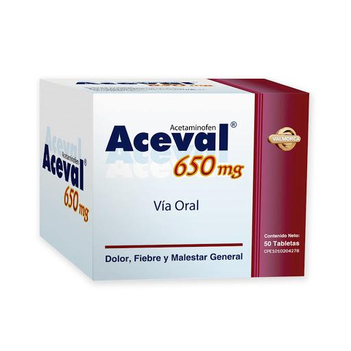 Acetaminofen Aceval 650mg x 50 Comp Valmor 650 mg x 50 Tabletas