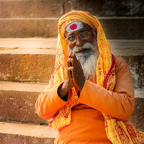 Varanasi by Runa Nightsongwoods - People Portraits of Men ( religion, orange, hindu, old, beard, india, varanasi, man, religious, hinduism, sadu,  )