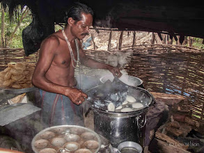 Photo: Steaming Idli's Dhaba Roadside Restaurant Baliguda Orissa India Idlis, is a traditional breakfast in south Indian and Sri Lanka Made by steaming a batter consisting of fermented black lentils (de-husked) and rice. The fermentation process breaks down the starches so that they are more readily metabolized by the body.