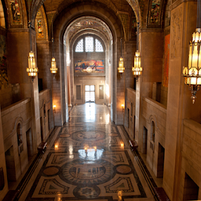 Nebraska State Capitol floor by Gayle Mittan - Buildings & Architecture Public & Historical ( reflection, hallway, beautiful light, stained glass, nebraska, lighting, building, stone, capitol, tiles, lincoln, limestone, art deco, granite, design, murals, mosaic, state, arch, arches )