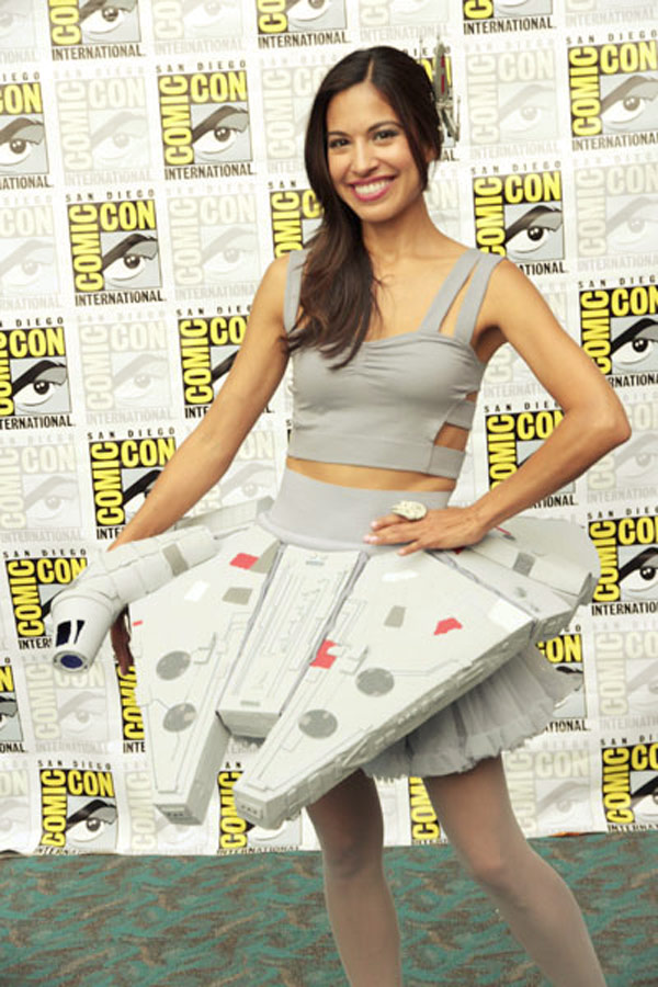death star dress girl makes Millennium Falcon skirt