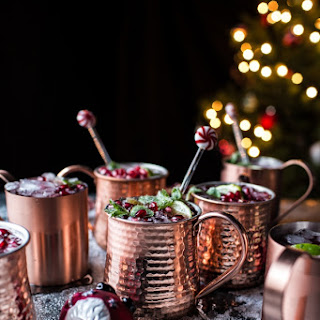 Pomegranate and Peppermint Moscow Mules.