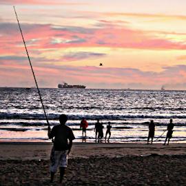 Dawn Fisherman by Gavin Plessis - Landscapes Beaches ( seine netters, fishing, sunrise,  )