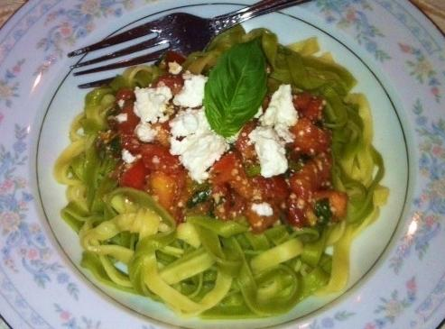 Served over Spinach Fettuccine