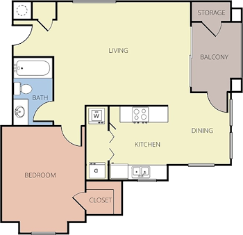 Go to One Bedroom B Renovated Floorplan page.