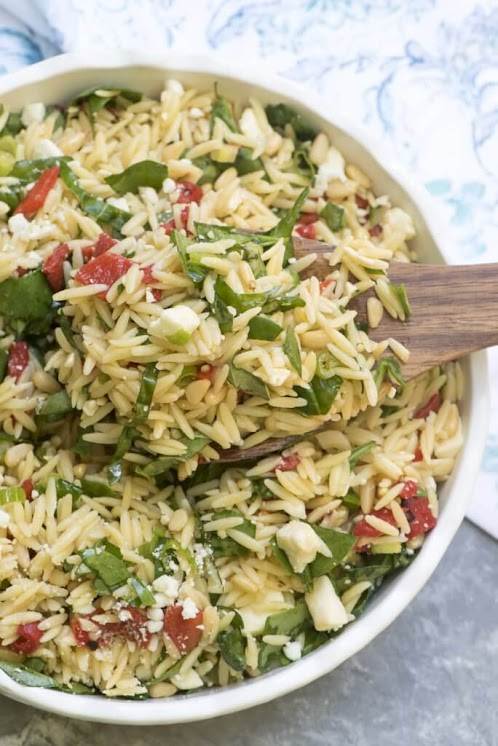 Click Here for Recipe: Orzo Salad with Roasted Red Peppers, Spinach, and Feta