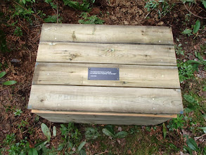 Photo: dedication plaque/thunderbox - provided in memory of Dr. Buttrum by his family with construction and placement facilitated by the Friends of Temagami