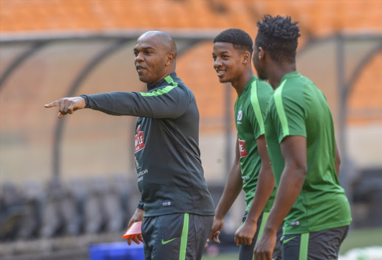 Newly appointed assistant coach Quinton Fortune of Bafana Bafana during the South African national soccer team training session at FNB Stadium on August 16, 2017 in Johannesburg, South Africa.