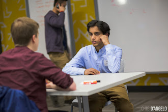 Photo: UChicago student Dev Nair working on his pitich