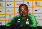 Desiree Ellis (Head Coach) of South Africa during the South African Football Association and national womens soccer team press conference at Cape Town Stadium on January 15, 2018 in Cape Town, South Africa.