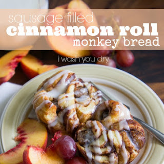 Sausage Filled Cinnamon Roll Monkey Bread