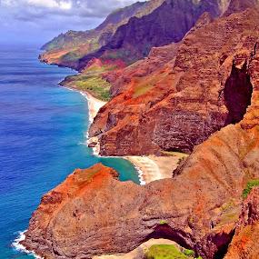 Na Pali Coast by Clyde Smith - Landscapes Beaches ( kauai, tropical, napali coast, ocean, beach, hawaii, island )