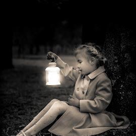 A little magic by Nicola Morrison - Babies & Children Child Portraits ( magic, glowing, vintage, fairytale, black and white, lantern, portraiture )