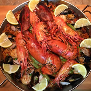 Seafood Paella with Lobster.