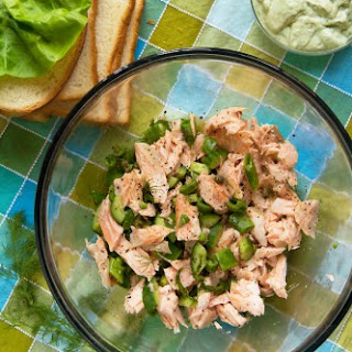 Salmon Salad Sandwiches with Green Goddess Dressing
