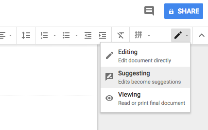Google Docs Suggesting mode allows anyone who can edit the document to suggest edits to the document owner. The owner can accept or reject edits.