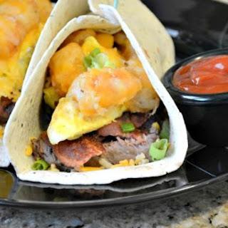 Cheesy Steak 'n Bacon Tater Breakfast Burrito.