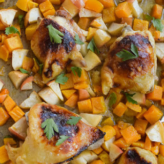 Sheet Pan Chicken With Butternut Squash.