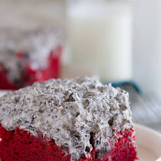 Red Velvet Sheet Cake Recipe with Cookies and Cream Frosting.
