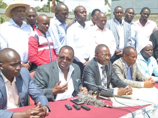 Murang'a leaders during a press briefing at Kenol on Friday /ALICE WAITHERA