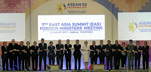 Foreign ministers from Southeast Asia and their dialogue partners pose for a group photo at the 50th Asean ministerial meetings in Manila, Philippines, on August 7 2017. Picture: REUTERS