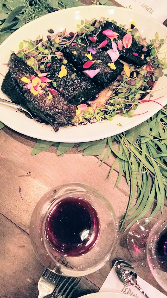 Harvest Dinner with Tepuy at Hazelfern Cellars, Family Style platter of Venezuelan Style Short Ribs - so much intense flavor!