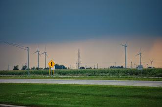 Photo: Wind turbines in the rain