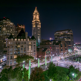 Atlantic ave and The Custom house tower Boston by Paul Gibson - Buildings & Architecture Other Exteriors ( boston, light trails, night, long exposure, glow )