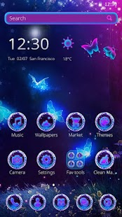 3D Neon Butterfly Theme - náhled