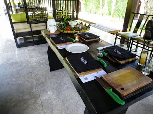Indonesia. Bali Cooking Class. Our cooking table at The Amala